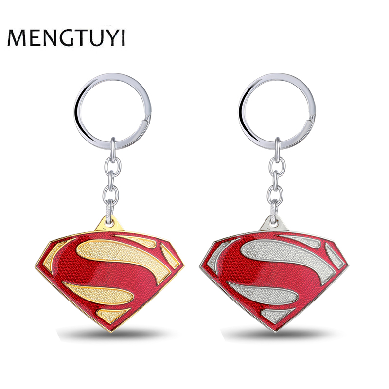 J Store Movie Superman Keychain Superhero S Logo Metal Keyring Gold Silver Color Llaveros For Men Superman Jewelry Souvenir