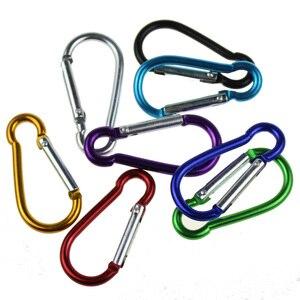 Image 3 - 5pcs 다채로운 알루미늄 합금 R 모양의 Carabiner 키 체인 후크 봄 스냅 클립 캠핑 하이킹 등산 액세서리 여행 키트