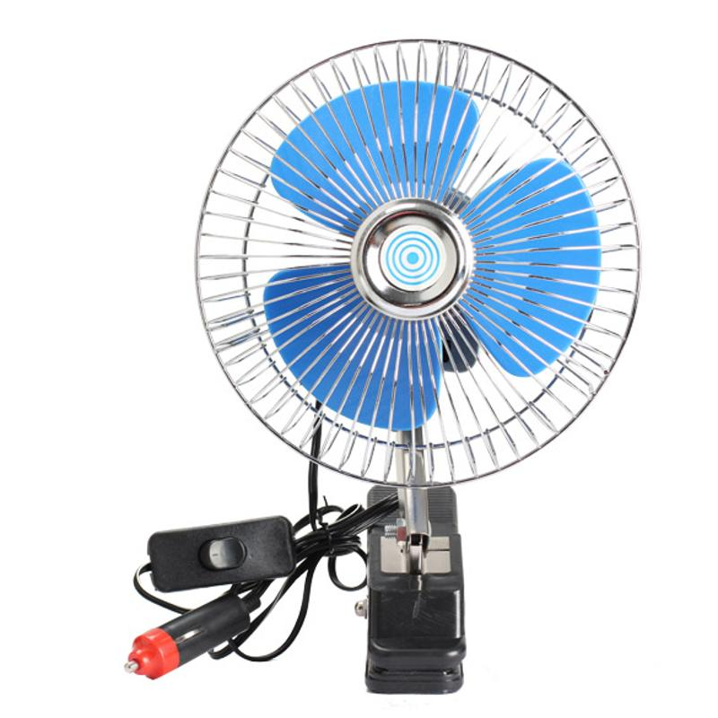 8 Inch 12v Electric Car Fan Portable Vehicle Auto Fan Oscillating Cooling Fan Low Noise With Cigarette Lighter Car Charger