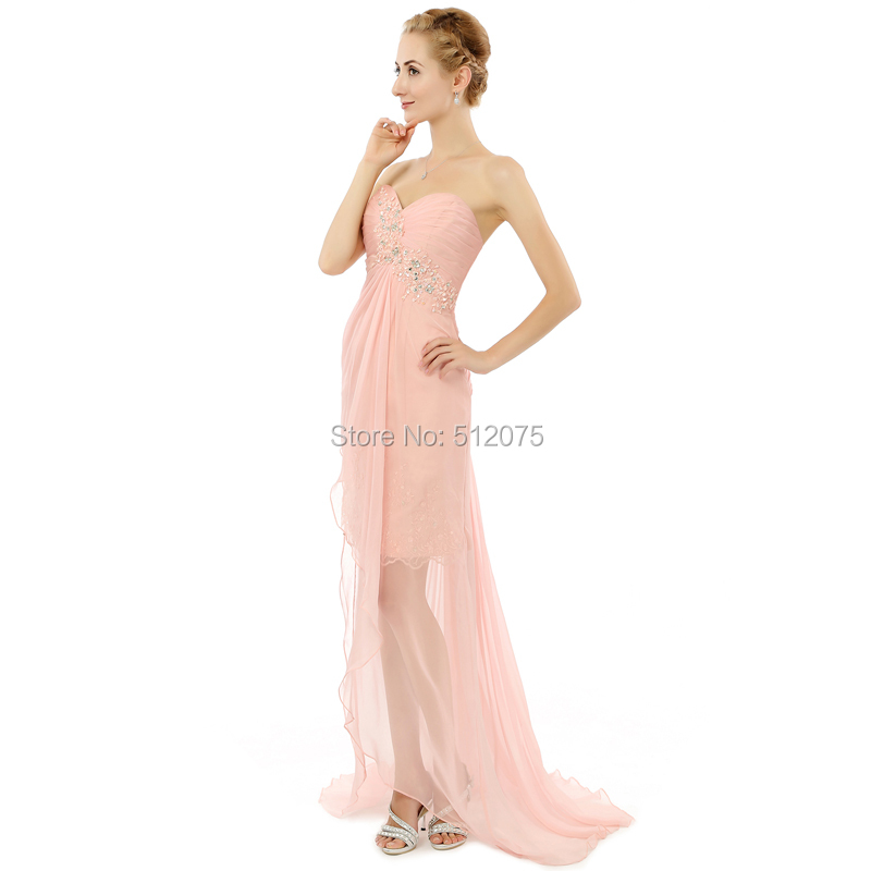 d584c0ba579 Robe De Cocktail Chiffon Beaded A Line Sweetheart Split Backless Pink  Formal Maternity Prom Dresses Lily Collins z82705-in Prom Dresses from  Weddings ...