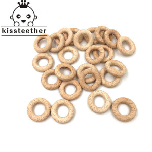 Image 4 - 50mm Nature Beech Wooden Ring Teether Baby Teether Wood Beads Baby Infants Teething Care Product DIY Wooden Teethers Necklace