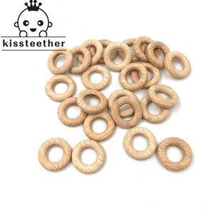 Image 4 - 50mm natura buk drewniany pierścień gryzak dziecko gryzak koraliki drewniane niemowlęta ząbkowanie produkt do pielęgnacji DIY drewniane gryzaki naszyjnik