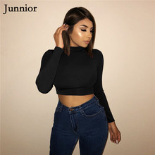 Junnior Bodycon Women Crop Top Stretchy Long Sleeve High Waist Tops for Female Spring Solid Mock Neck Pullover Ladies Femme