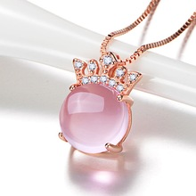 Korean version of S925 sterling silver Hibiscus stone crown hanging pendant inlaid diamond PINK crystal crown necklace цена 2017