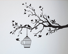 Tree Wall Decal Sticker Bedroom tree of life roots birds flying away home decor Birds in cages. A7-009