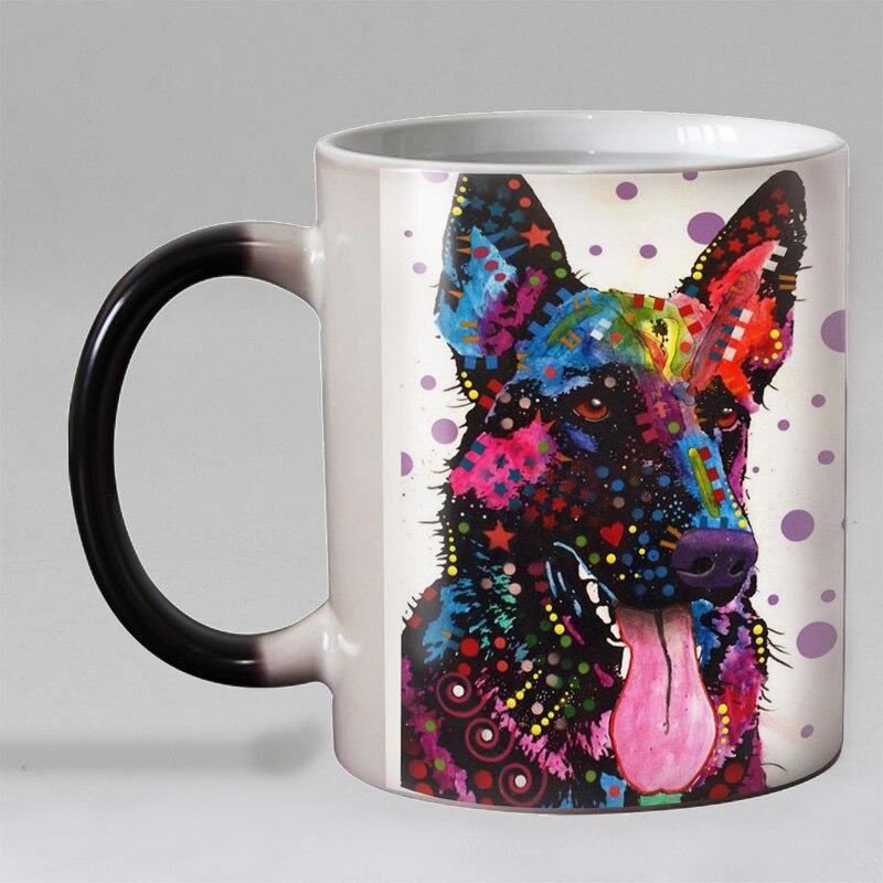 New Design Funny Pop Dogs Heat Reveal Coffee Mug Ceramic