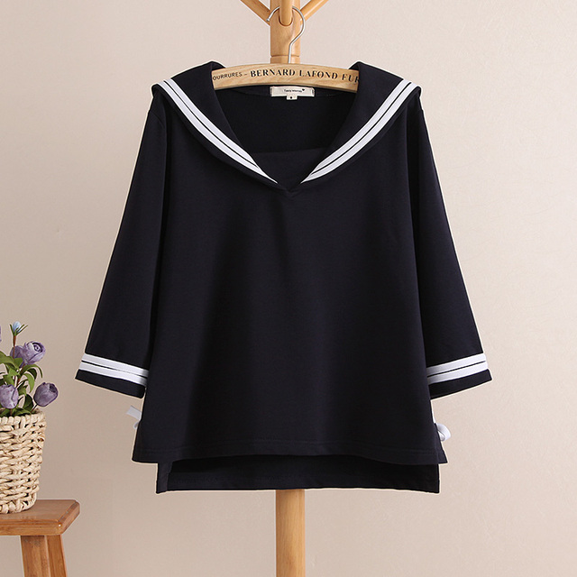 473ce4c62509 2016 summer new students youth girls fresh three quarter sleeve preppy  style navy sailor casual t