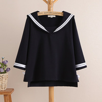 2016 Summer New Students Youth Girls Fresh Three Quarter Sleeve Preppy Style Navy Sailor Casual Wear