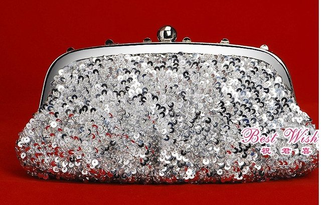 Promotional Products Silver Beads+Diamond Handbag Clutch Purse Bride Bag, Evening Party Bags