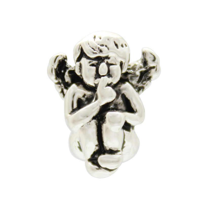 Religiosa proibida anjos rezar para proteger a minha sorte Europeus big hole charme beads amuleto Fit Pandora Bracelet DIY das Mulheres jóias