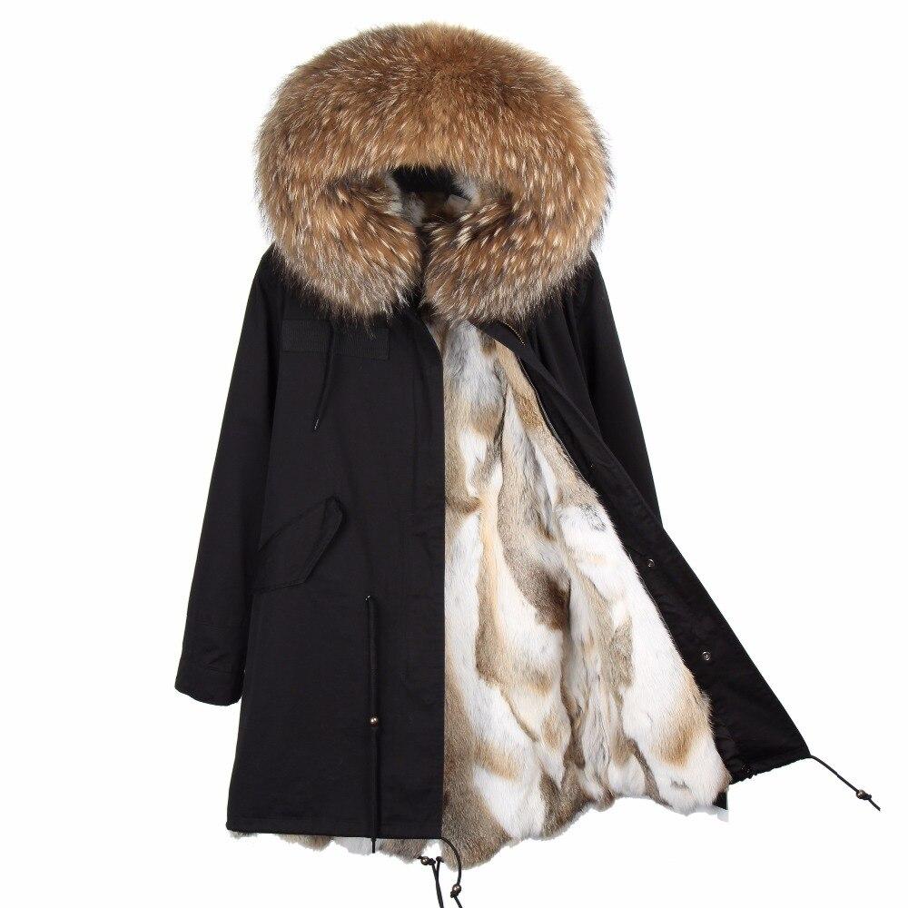 2018 marque véritable manteau de fourrure de lapin longue veste d'hiver femmes col de fourrure de raton laveur détachable épais chaud parka de fourrure de qualité supérieure