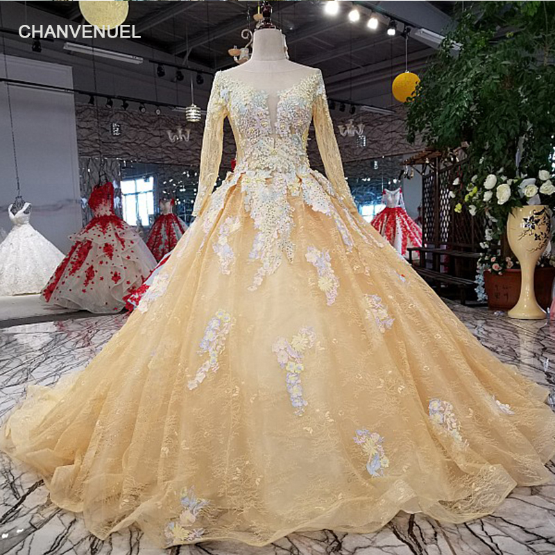 LSX31241 stock dress elegant champagne evening dress with colorful flowers o neck long sleeves lace up tulle back prom dress
