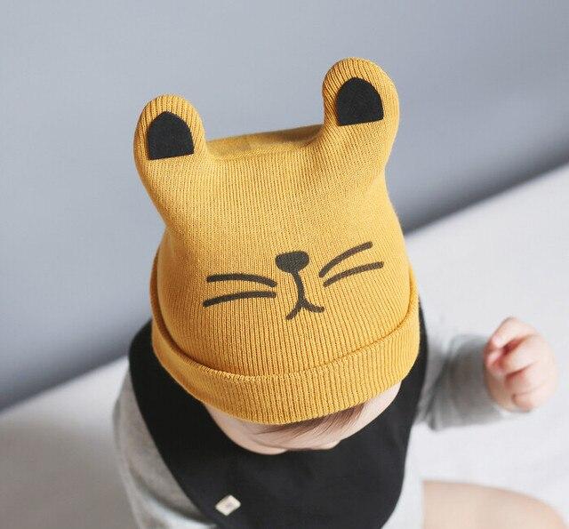 8720a404311 Bébé Enfant Enfants Garçon Fille Tricoté Crochet Chat Oreille Bonnet D hiver  Chapeau Chaud Cap
