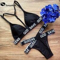 Sunyokini Sexy Bandage Bikini Letter Print Swimwear Women Cross Strappy Swimsuit Female Push Up Bathing Suits