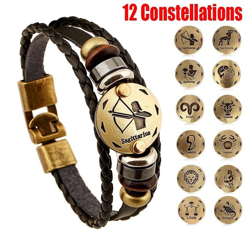 Кожаный браслет 12 знаков зодиака, многослойный браслет для мужчин и женщин