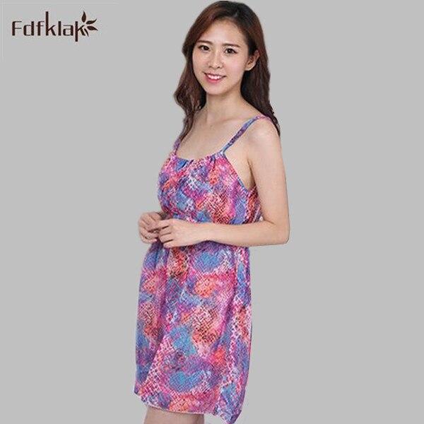 Sexy   Nightgowns     Sleepshirts   2017 New Print Lady Sleepwear Chiffon Summer Dressing Gown Female Home wear Girls Night Dress A552