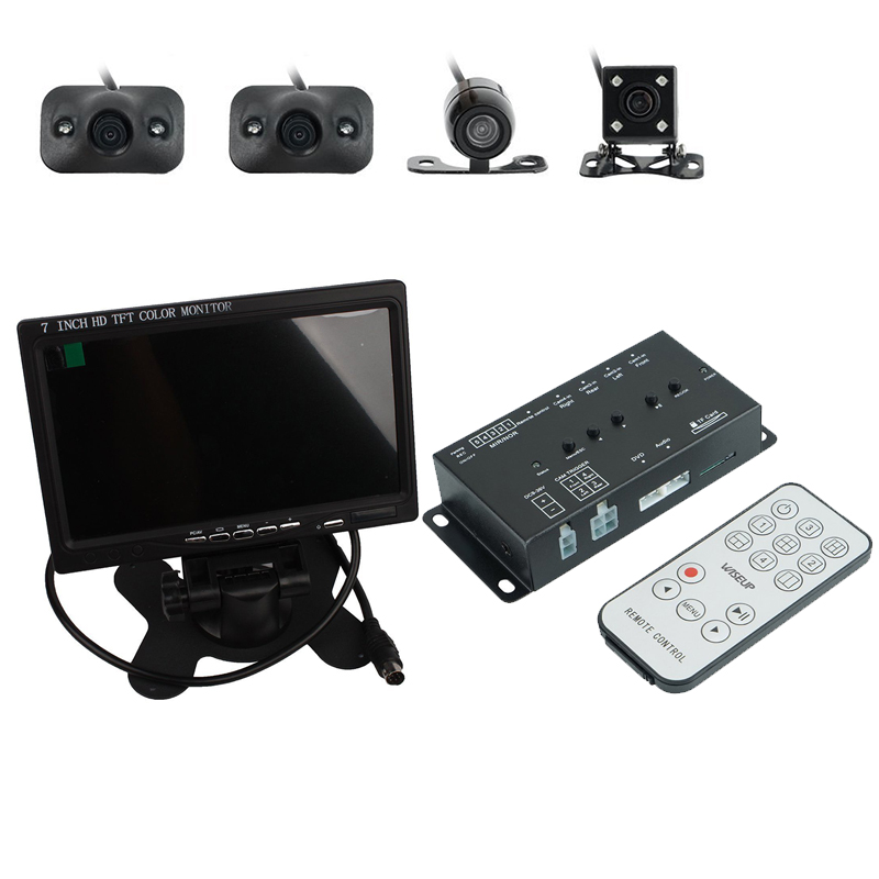 360 Degree 4-CH Inputs Car Surround View System Dash Cam DVR Digital Camera 7