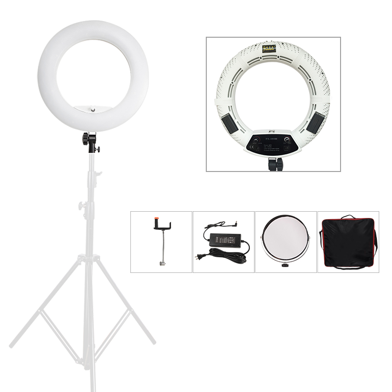 Yidoblo FS-480II White Photo Studio LED Dimmable Ring Light + Portable bag Lamp Photographic Lighting 3200-5500K 480LED Lights