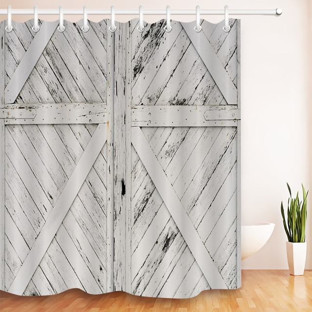 LB 72 Shower Curtain Rustic Barn Door White Painted Wood Farmhoouse Bathroom Curtains