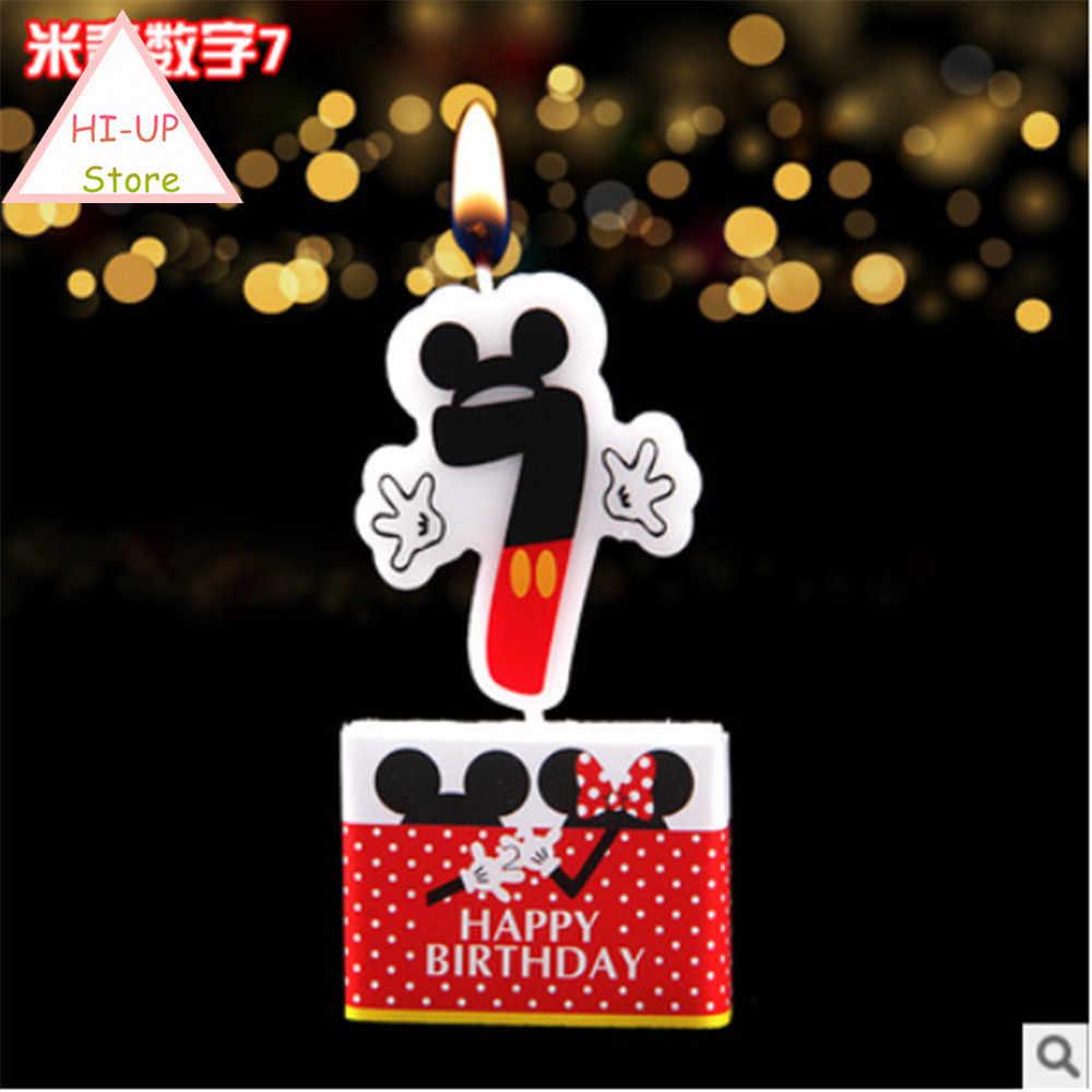 Bolo de aniversário vela mickey mouse fontes de festa vela 0 1 2 3 4 5 6 7 8 9 números de bolo de aniversário idade vela decoração de festa