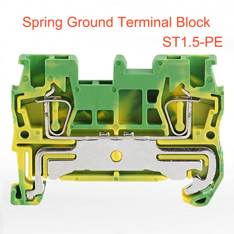 10/15/50pcs Spring Ground Terminals Block ST1.5-PE din rail yellow green earthing wire cable grounding bornier connector 1.5mm210/15/50pcs Spring Ground Terminals Block ST1.5-PE din rail yellow green earthing wire cable grounding bornier connector 1.5mm2