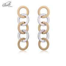 Badu Gold/Silver Stainless Steel Earrings for Women Delicate Metallic Round Circle Rings Earring Fashion Jewelry Wholesale