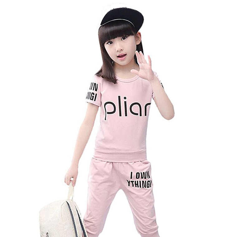Childrens Sports Suit For Girls Tracksuit Summer Letter Top Cotton T-Shirt+Pants Kids Clothes For Teenage Girl Of 12 Years Old