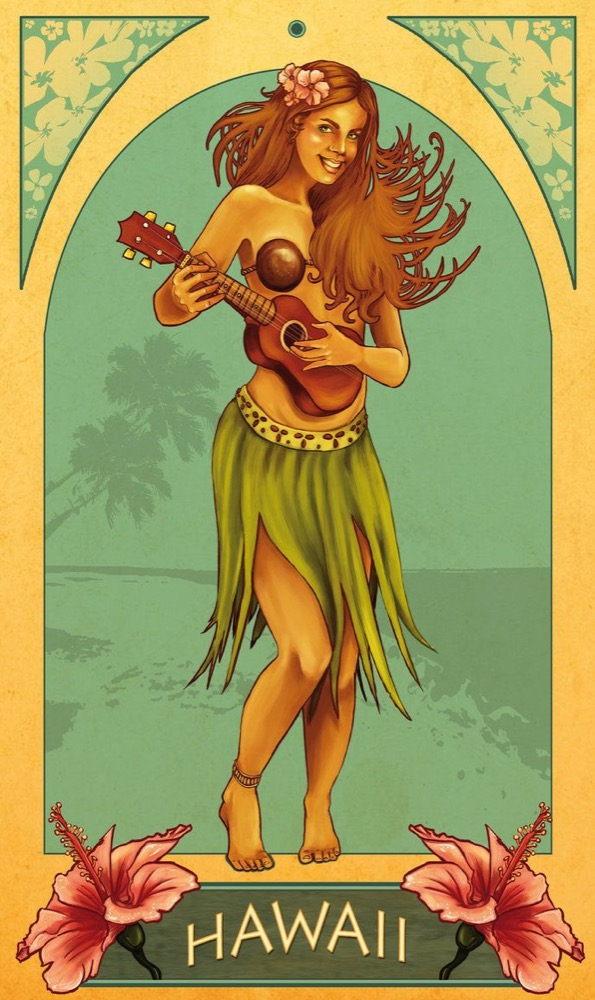 Poster vintage ukulele girl