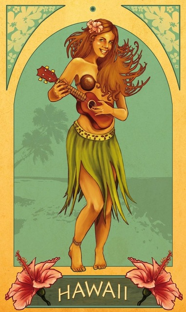 Vintage Hawaii Travel Tourism Guitar Beach Airline Retro Poster Canvas Painting DIY Wall Paper Posters