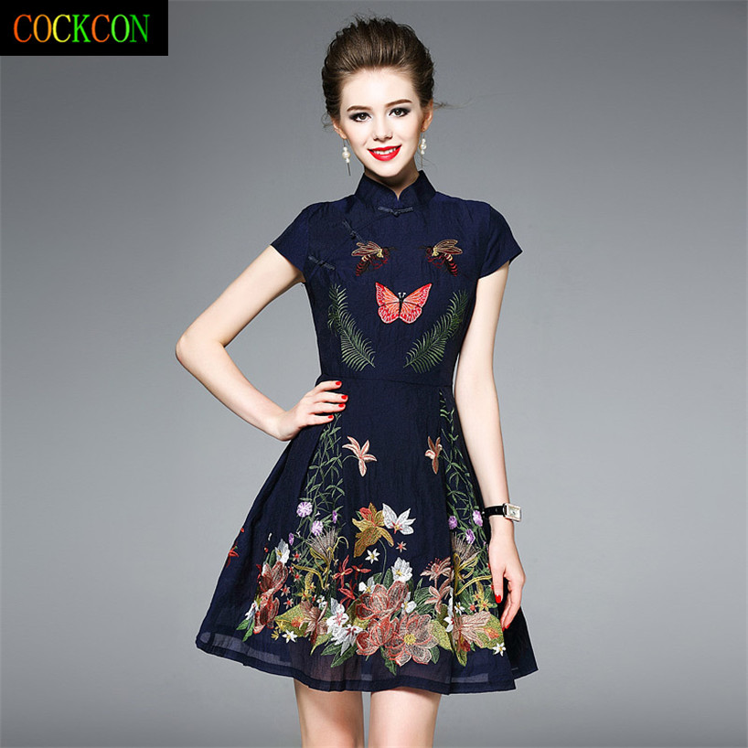 Shop2954251 Store COCKCON National culture quality, and the mandarin collar pure color embroidery dress with short sleeves