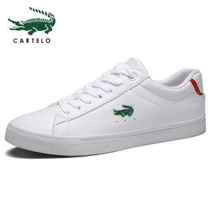 Image 2 - CARTELO גברים של נעלי ניו נעליים יומיומיות גברים של עור שטוח נעליים עם מחשוף סניקרס קטן לבן נעליים לנשימה