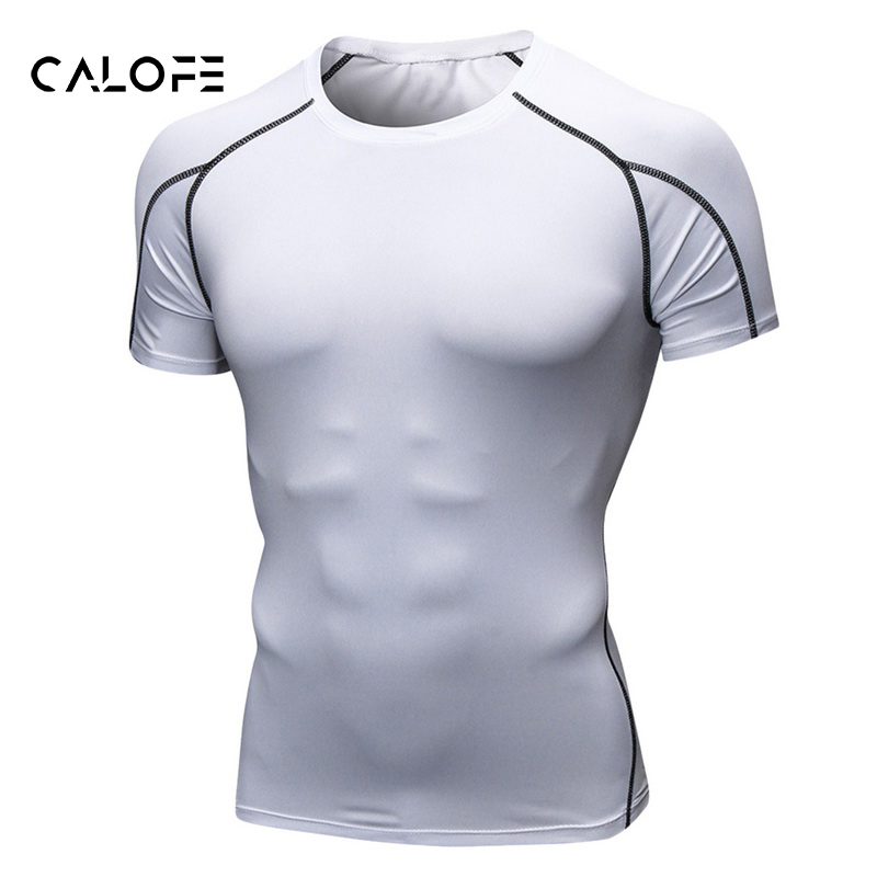 CALOFE 2018 Summer Fashion Male Fitness Clothing Compression Men T-shirt Plus Size Casual Short Sleeves Bodybuild Tee Tops