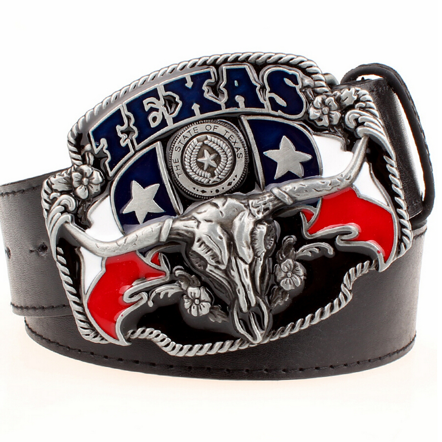 Wild West Cowboy Personality Men's Belt Metal Buckle Bull Head American Texas Western Cowboy Style Belts Trend Belt For Men Gift
