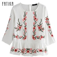 FATIKA 2017 Womens Tops And Blouses New O Neck Tops Floral Embroidery Three Quarter Sleeve Draped