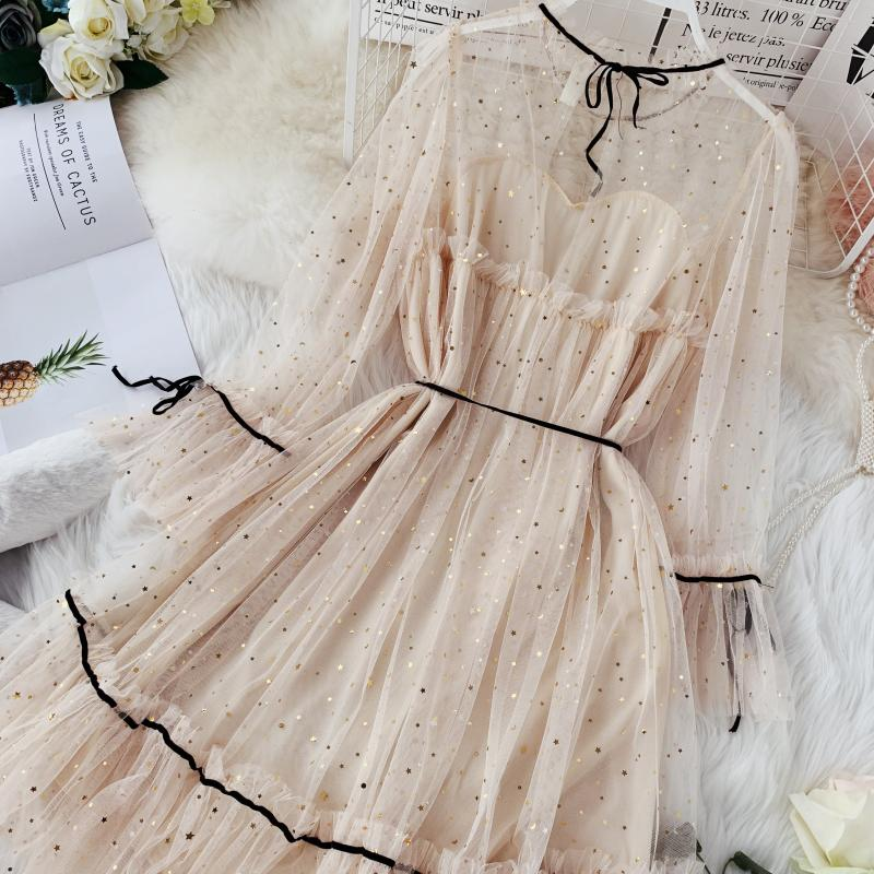 HISUMA spring autumn new women Star sequins gauze flare sleeve lace-up Princess dress female elegant o-neck mesh puff dresses 14