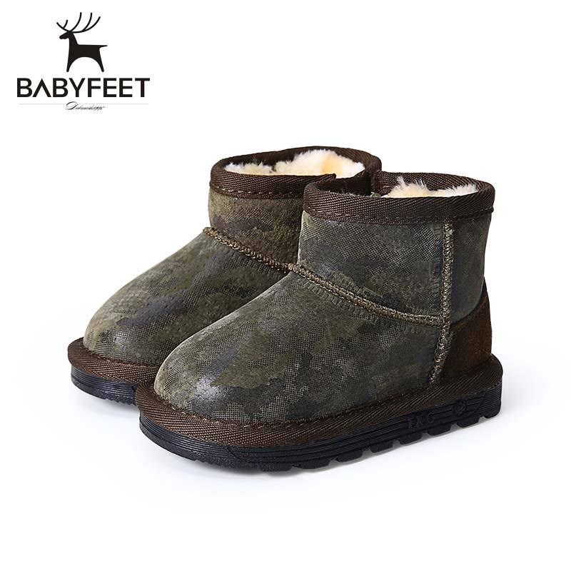 Babyfeet 2017 New Fashion Winter Baby Snow Short Boots Warm Plush Soft and Comfortable Non-skip Sole Shoes for Boys and Girls uovo baby girls snow boots 2017 new faux fur plush kids high boots glitters children shoes soft sole winter boots for toddlers