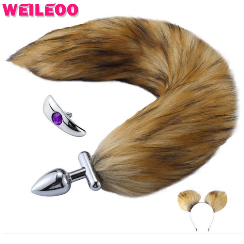 Detachable stainless steel anal plug fox tail butt plug <font><b>cat</b></font> tail fetish erotic adult games <font><b>sex</b></font> <font><b>toy</b></font> for couple prostate massage image