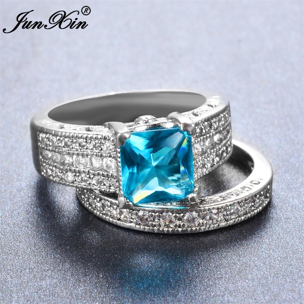 Junxin Male Female Light Blue Ring 925 Sterling Silver Wedding Ring Set  Promise Engagement Rings For