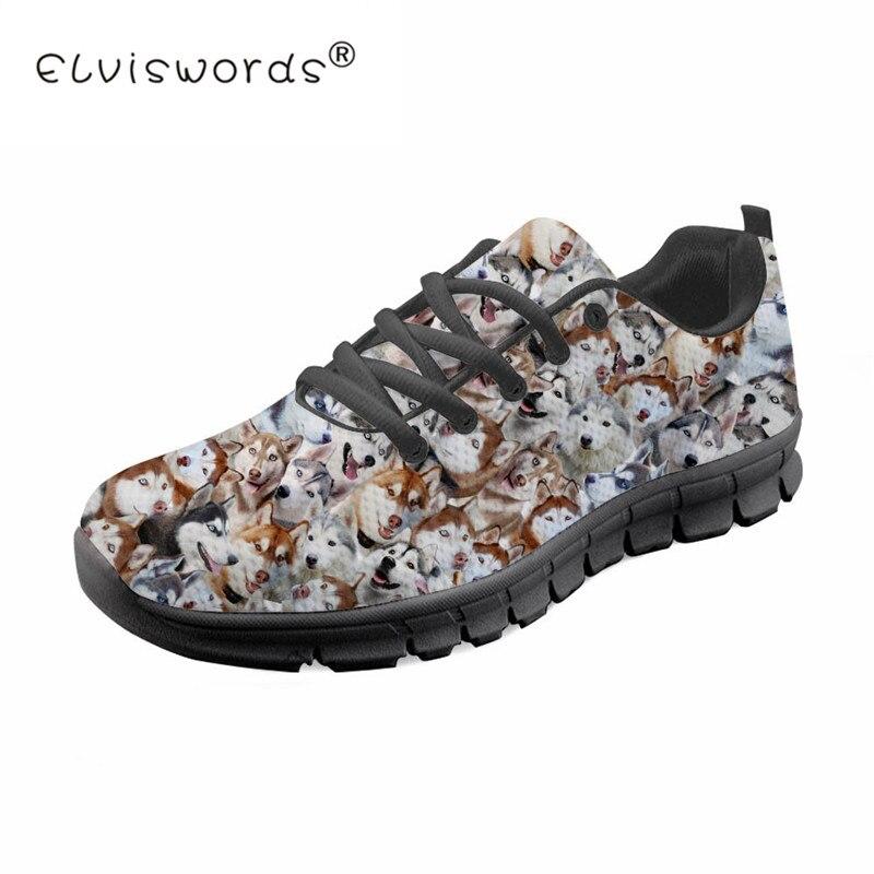 Husky Puzzle imprimé hommes chaussures été respirant maille Sneaker chaussures plates pour garçon homme léger animaux marche chaussure ELVISWORDS