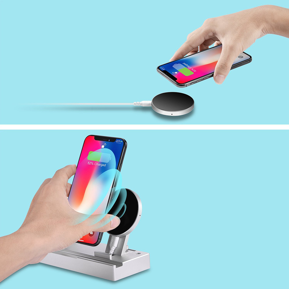 Aluminium Alloy 4 In 1 Night Table Stand For Apple Watch Airpods Apple Pencil 5W Wireless Charger Stand For Iphone 8 Iphone X (5)