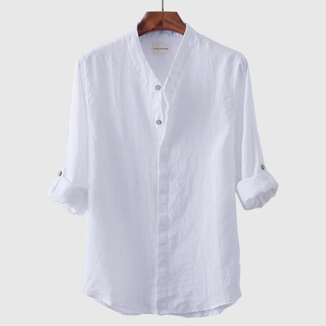 New Men White Linen Shirts Collar Long Sleeve Breathable