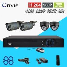 TEATE 4*720 P HD IP CAMERA System 4CH 960 P NVR KIT câmera de Visão Noturna de vigilância de Segurança NVR HDMI 1080 P CK-018