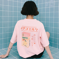 Summer Dress Korean Ulzzang BF Wind All Match Harajuku Cartoon Printed Loose T Shirt Short Sleeve