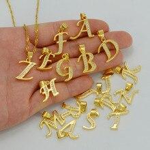 Маленький золотого цвета, кубический цирконий, буквы, начальная подвеска, ожерелье, цепь 45 см или 60 см, Женские Ювелирные изделия с английскими буквами# J0285