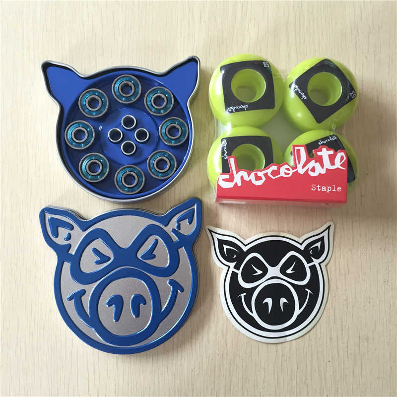 Free Shipping Skateboard Parts CHOCOLATE 101A Skateboard Wheels & PIG ABEC-3 Bearings Skateboard for Skate Deck 20pcs m3 m12 screw thread metric plugs taps tap wrench die wrench set