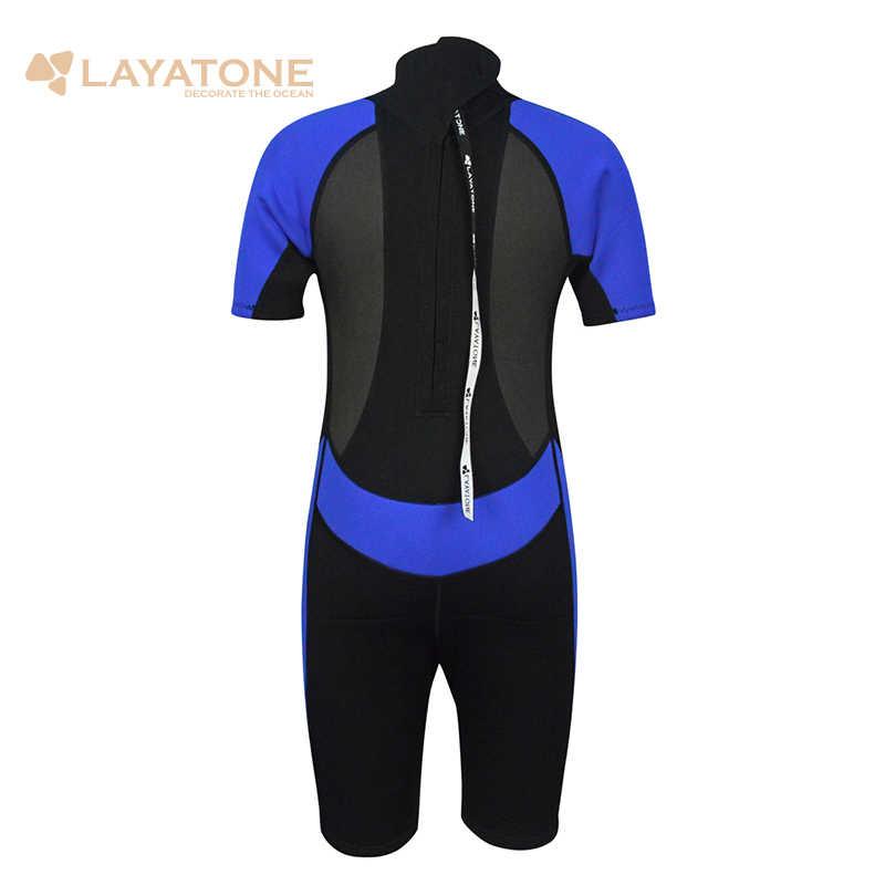 LayaTone 2mm Shorty neopren Wetsuit çocuklar mayo tam vücut dalgıç kıyafeti çocuk mayosu yüzme sörf dalış kısa pantolon