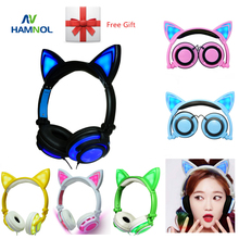 HAMNOL Cat Ear headphones with LED Flashing Glowing Light Headset Gaming Earphones for PC Computer and Mobile Phone