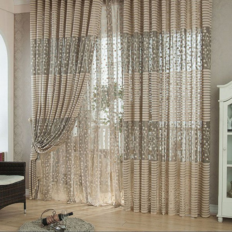 Leaf Pattern Tulle Door Window Curtain Drape Panel Sheer Scarf Valances(China  (Mainland)