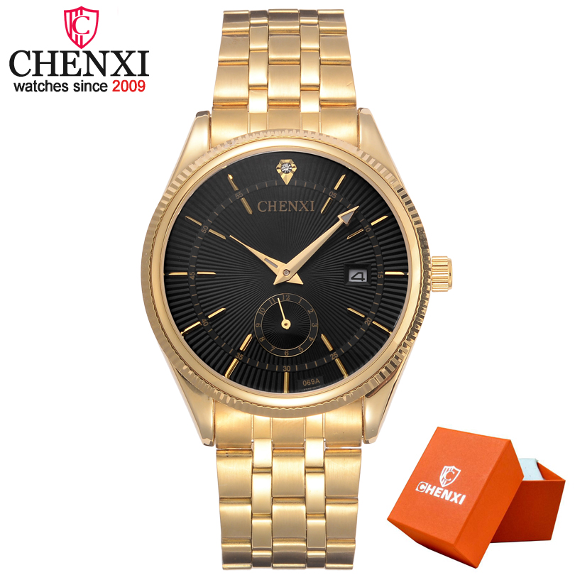 CHENXI Hot Men Luxury Brand Watches Man Golden Stainless Steel Straps Wrist watch Fashion Men's Quartz Watch Clock xfcs chenxi men gold watch male stainless steel quartz golden men s wristwatches for man top brand luxury quartz watches gift clock