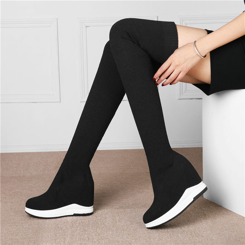 Creepers Women Black Knitting Stockings High Heels Over The Knee Motorcycle Boots Elastic Stretch Thigh High Wedges Pumps Shoes in Over the Knee Boots from Shoes